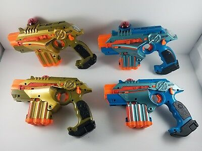 Used Lot of 4 Nerf Lazer Tag Guns LTX Phoenix Blue & Gold Laser Tested Blasters