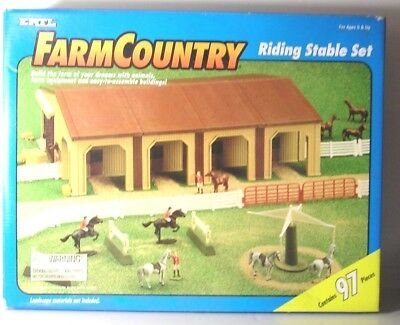 RARE, ERTL FARM COUNTRY 97 Piece RIDING STABLE SET, 1995, Set #4217, NEW in Box