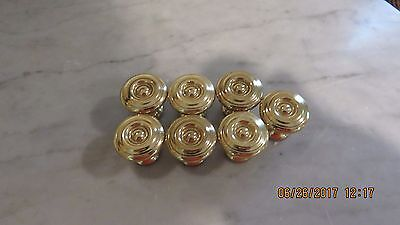 Oval Solid Brass drawer, door handle pulls, knobs,  lot of 9 - 2 sizes