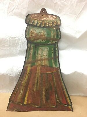 Rare 1920s 1930s Coca Cola Coke Soda Drink Metal tin Embossed Bottle Sign Piece