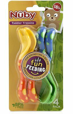 Nuby 4-Pack Spoons and Forks (2 Each) Colors May Vary 12+months Baby Feeding