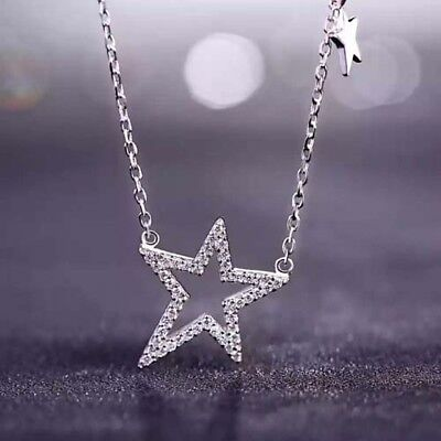 REAL 925 sterling silver chain shooting STAR pendant with zircon 18KPG necklace