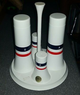 Vintage retro Guzzini cruet set Paolo Tilche  Pagoda series salt pepper oil