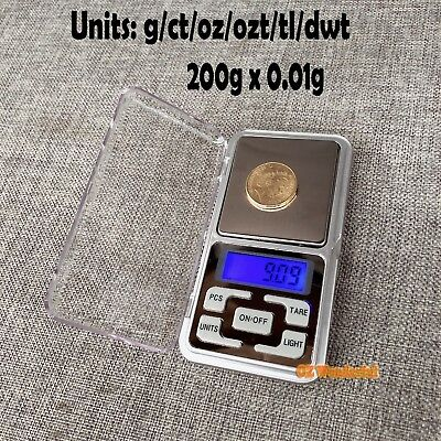 200g 0.01 DIGITAL POCKET SCALE SCALES JEWELLERY PRECISION ELECTRONIC WEIGHT