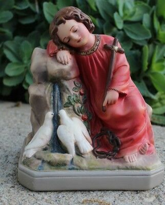 Exceptional Old, Christ Child asleep w/Doves, Statue, Antique, Chalkware