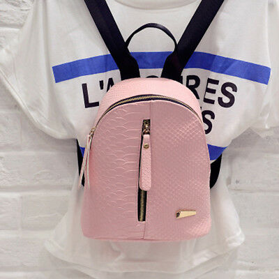 4fbd51e837 Women PU Leather School Bag Girl Small Backpack Travel Satchel Shoulder  Rucksack