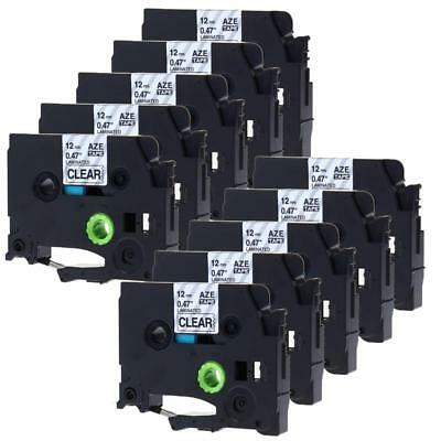 TZ131 TZe-131 P-touch Label Tape Compatible for Brother 12mm Black on Clear 10pk