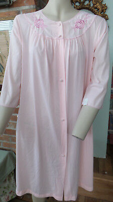 Vintage Lingerie Nylon Robe Pink Embroidered Floral Accents by Lorraine Sz S