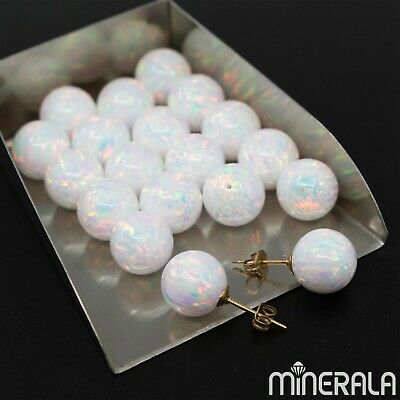 [Wholesale] Half Drilled White Synthetic Lab Created Opal Loose Round Ball
