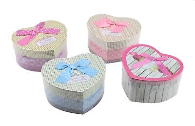 Heart Shaped Gift Boxes Set of 3 Nested With Lids Storage Wedding Birthday Gift