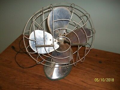 Vintage Hunter Century #253 Type D12 2 Speed Oscillating Satin Nickle Fan