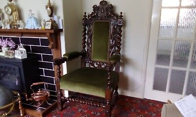 Carved Oak Baronial Throne Chair