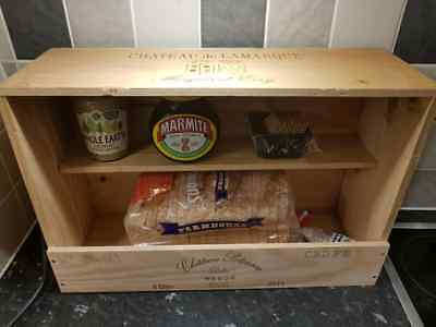 Handmade French Wooden wine box BREAD BIN Station Kitchen Organiser tidy.