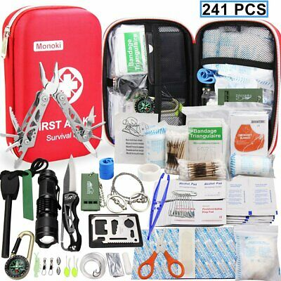 241 Pcs First Aid Emergency Survival Kit Travel Outdoor Car Rescue Medical Bag