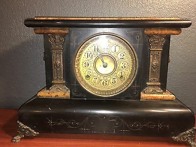 Seth Thomas Adamantine Mantle Clock.FOR PROJECTS/REPAIR.MISSING BACK COVER