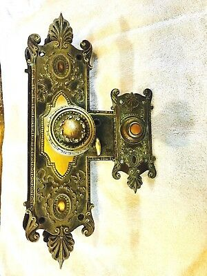 Victorian Ornate Brass Doorknob Lock set with Matching Doorbell