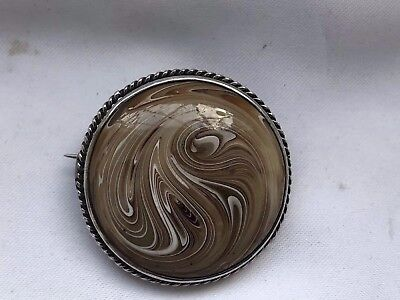 Tested Sterling Silver Artist Glass Brooch