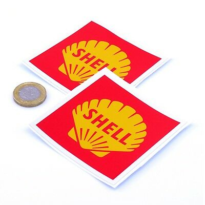 Shell Stickers Classic Car Motorcycle Racing Sticker 1960s Vinyl Decals 75mm x2