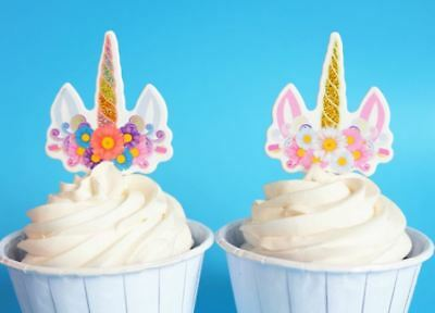 UK 12 Cupcake Topper Unicorn Horn Girls Party Birthday Stick Picks