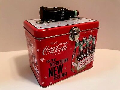 """Coca Cola Coke Tin Lunch Box Case """"For That Refreshing New Feeling"""""""