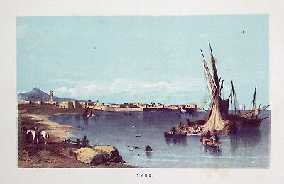 ca. 1860 Tyros Libanon Tyre Lebanon Ansicht view Lithographie lithograph Litho