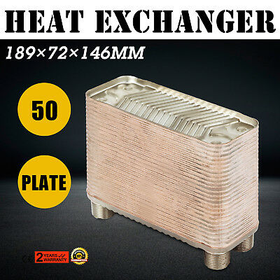 50 Plate Water to Water Brazed Plate Heat Exchanger Furnace Boiler Fixture