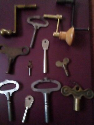 vintage wall mantel clock longcase crank keys  grandfather winders various