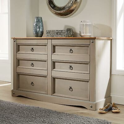 Corona Grey Chest of Drawers Pine 6 Drawer Solid Pine Mexican Wooden Sideboard