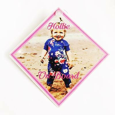 Personalised Baby Child On Board Photo Car Window Sign Gift Boy Girl NotSticker