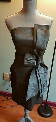 Grey gunmetal shimmering sleeveless big bow with pockets spec occas dress M size
