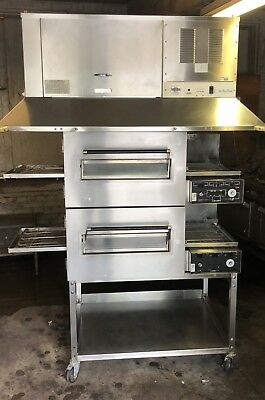 Used Lincoln Electric Double Stack Conveyor Pizza Ovens With Ventless Hood