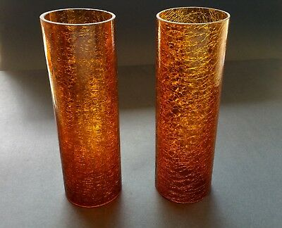 Pair Vintage Amber Crackle Cylinder Glass Shade - Mid Century