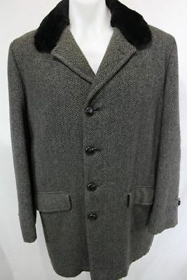 Vintage STROJAC Wool Lined Tweed PEACOAT Button Front Retro JACKET 42