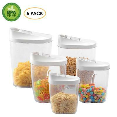 Food Storage 5Pcs Air Tight Set Clear Plastic Container Box - Pantry Snacks Bean