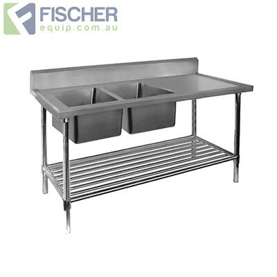 BRAND NEW Stainless Steel Left Double Sink Bench 2200mm - Pipe Undershelf