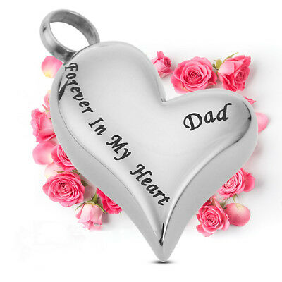 Dad Forever in My Heart Heart Cremation Ash Urn Keepsake Pendant Necklace