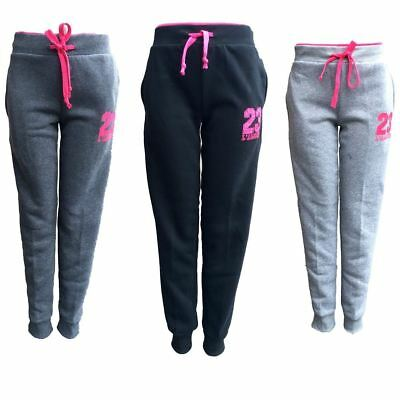 Womens Ladies Track Pants Fleece Lined Basic Cuff Causal Pants Trackie Sports