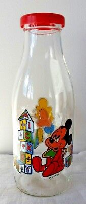 Vintage Disney glass decanter with lid baby Mickey Mouse & baby Goofy Disneyana