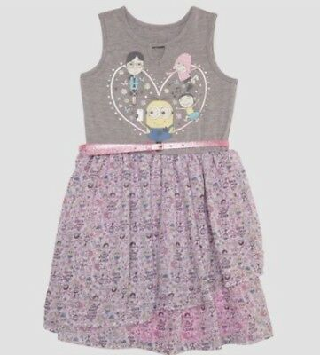93937fe2685 NEW Girls' Despicable Me 3 Minion Ruffle Dress Heather Gray Size Medium 7/8