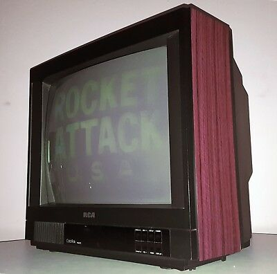 "Rca Colortrak Vintage Television Set 20"" Motel Tv Color 1989 Walnut Cabinet"