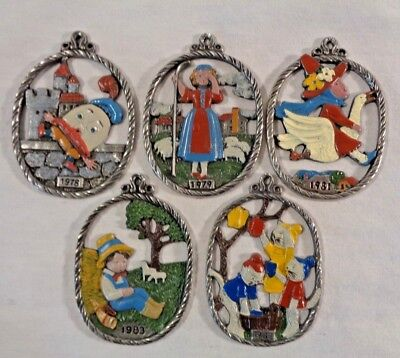 Vintage Kuhn Zinn 93% Pewter Fairy Tale Ornament Lot of 5 Mother Goose Humpty