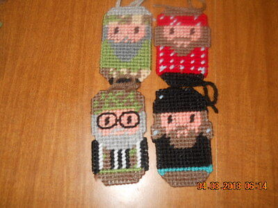 Handmade Plastic Canvas Duck Dynasty Christmas Ornaments Set Of Four