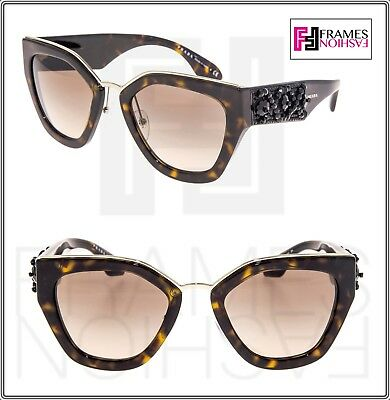 1cb3e53736 PRADA ORNATE BEAD Embellishment PR10TS Brown Tortoise 10T Mirror Sunglasses