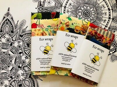 Organic Beeswax food Wraps, pack of 3. Large/ medium/ small. Eco friendly.