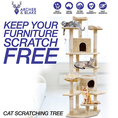 Giant Cat Tree Scratching Post House Tower Scratcher Climbing Toy Cradle 203cm
