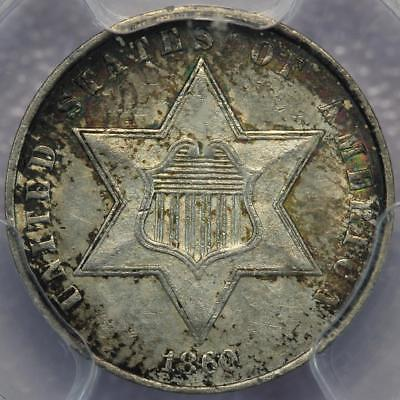 1860 Three Cent Silver PCGS AU55 CAC Toned! - *DoubleJCoins* 122-08