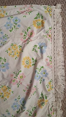 Vintage 1960's Twin Coverlet White Floral with Fringe Montgomery Ward