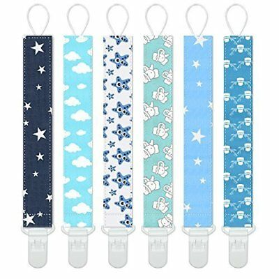 Dummy Clips Baby Pacifier Clips 6 Pack Pacifier Holder Straps for Boys and Girls