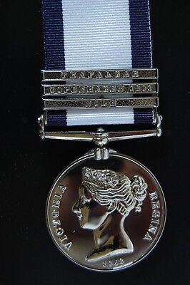 Silver Naval General Service Medal 1847 3 Clasps