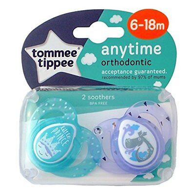 Anytime Orthodontic silicone soothers from Tommee Tippee Age 6-18m Boys Bpa free